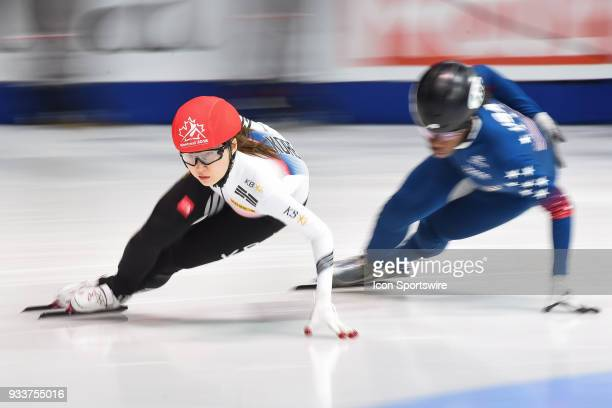 Min Jeong Choi skates in front of Maame Biney during the 1000m Quarterfinals at ISU World Short Track Speed Skating Championships on March 18 at...