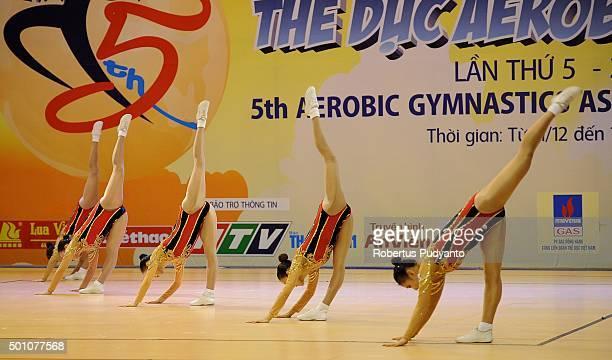 Min Ji Ryu Sang A Choi Eun Bi Lee Eun Byeol Koh and Yu Rim Cha of Korea compete in QualificationSenior Groups during the 5th Asian Aerobic Gymnastics...
