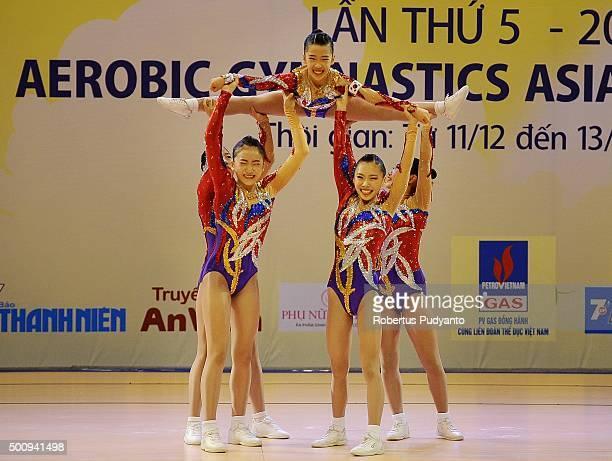 Min Joo Park Kyu Ri Kim Geun Na Park Byeng Eun Go and Min Ji Kim of Korea compete in Qualification Age Group 1 Groups during the 5th Asian Aerobic...