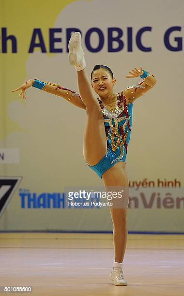 Min Joo Park of Korea competes in the FinalAge Group 1 Individual Women during the 5th Asian Aerobic Gymnastics Championships at Nguyen Du Culture...