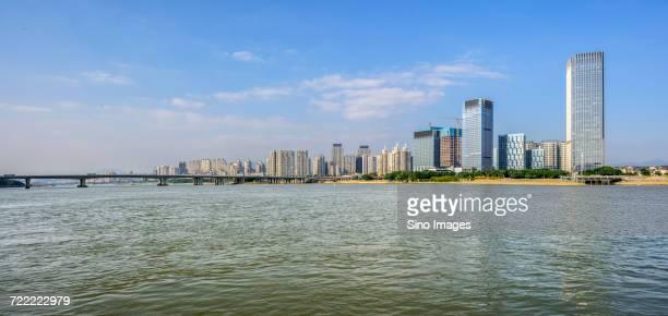 Min River in front of city, Fuzhou, Fujian, China