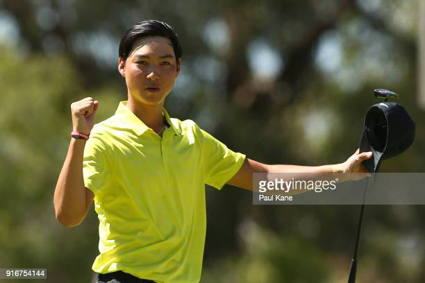Min Woo Lee of Australia celebrates defeating Prom Meesawat of Thailand in the round 2 match during day four of the World Super 6 at Lake Karrinyup...