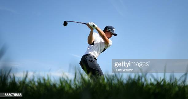 Min Woo Lee of Australia tees off on the 11th hole during Day Two of The Italian Open at Marco Simone Golf Club on September 03, 2021 in Rome, Italy.