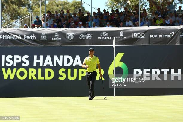 Min Woo Lee of Australia walks from the 6th green after winning the round two match against Prom Meesawat of Thailand during day four of the World...