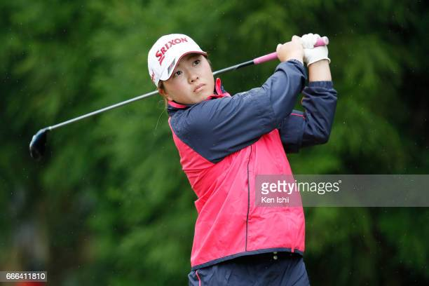 Mina Asada plays her tee shot on the second hole during the final round of the Hanasaka Ladies Yanmar Golf Tournament at the Biwako Country Club on...