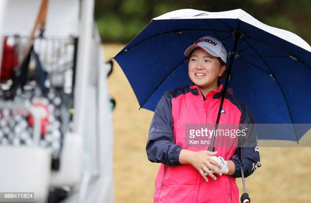 Mina Asada smiles on the second hole during the final round of the Hanasaka Ladies Yanmar Golf Tournament at the Biwako Country Club on April 9 2017...