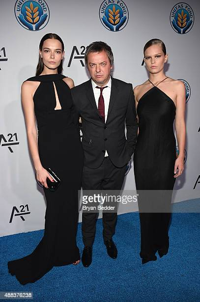 Mina Cvetkovic Mo Stojnovic and Anna Ewers attend the Unitas gala against Sex Trafficking at Capitale on September 15 2015 in New York City