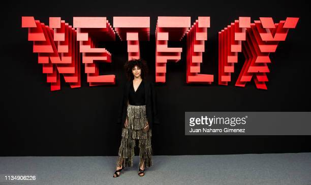 Mina el Hammani attends the red carpet during the Netflix presentation party at the Invernadero del Palacio de Cristal de la Arganzuela on April 4...