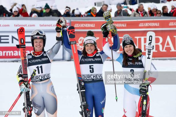 Mina Fuerst Holtmann of Norway takes 2nd place Federica Brignone of Italy takes 1st place Wendy Holdener of Switzerland takes 3rd place during the...