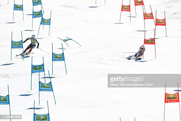 Mina Fuerst Holtmann of Norway takes 2nd place, Wendy Holdener of Switzerland takes 1st place during the Audi FIS Alpine Ski World Cup Men's and...