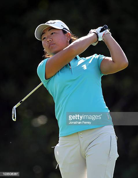 Mina Harigae tees off on the 16th hole during the first round of the Safeway Classic at Pumpkin Ridge Golf Club on August 20 2010 in North Plains...