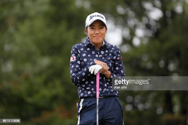 Mina Nakayama of Japan hits a tee shot on the second hole during the final round of the Udonken Ladies at the Mannou Hills Country Club on October 15...