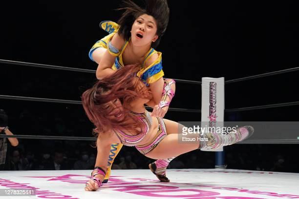Mina Shirakawa and Hanan compete during the Women's ProWrestling 'Stardom' Yokohama Cinderella at the Yokohama Budokan on October 03 2020 in Yokohama...
