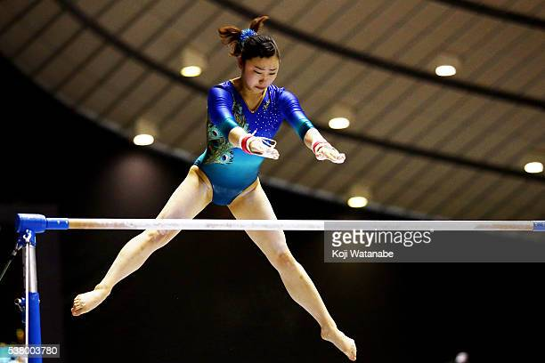 Mina Sugimura competes on the uneven bars during the AllJapan Gymnastic Appratus Championshipsat Yoyogi National Gymnasium on June 4 2016 in Tokyo...