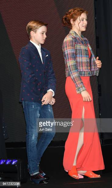 Mina Sundwall and Maxwell Jenkins attend the 'Lost In Space' premier event at Omotesando Hills on April 3 2018 in Tokyo Japan