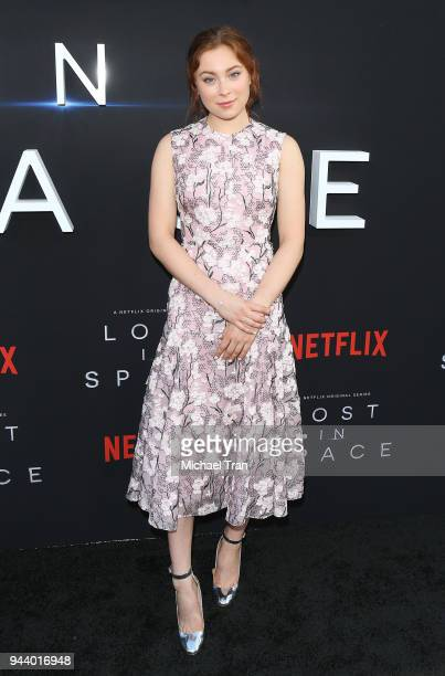 Mina Sundwall arrives to the Los Angeles premiere of Netflix's Lost In Space Season 1 held at The Cinerama Dome on April 9 2018 in Los Angeles...