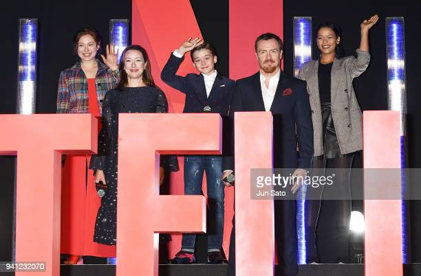 Mina Sundwall Molly Parker Maxwell Jenkins Toby Stephens and Taylor Russell attend the 'Lost In Space' premier event at Omotesando Hills on April 3...