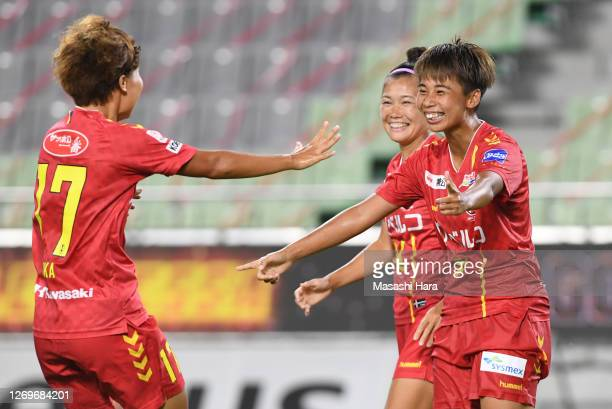 Mina Tanaka of INAC Kobe Leonessa celebrates the fifth goal and her hat trick during the Nadeshiko League match between INAC Kobe Leonessa and Ehime...