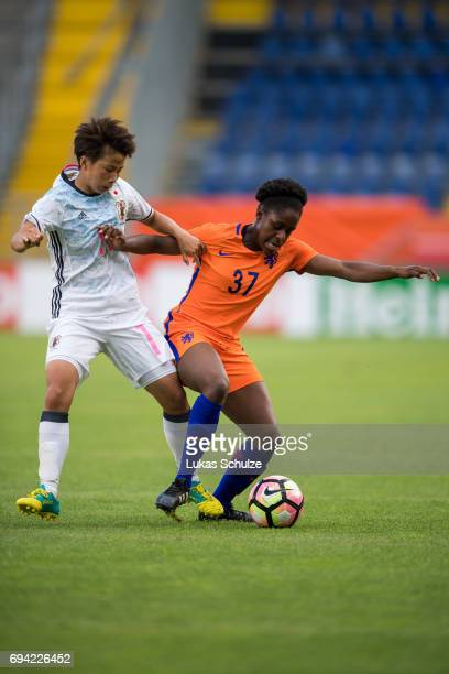 Mina Tanaka of Japan and Liza van der Most of Netherlands fight for the ball during the Women's International Friendly match between Netherlands and...