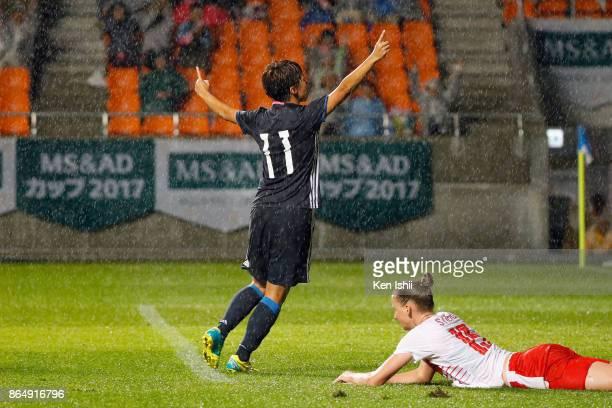 Mina Tanaka of Japan celebrates scoring her side's second goal during the international friendly match between Japan and Switzerland at Nagano U...