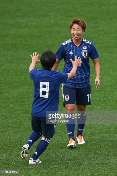 Mina Tanaka of Japan celebrates with Yu Nakasato after scoring a goal during the International Friendly match between the New Zealand Football Ferns...
