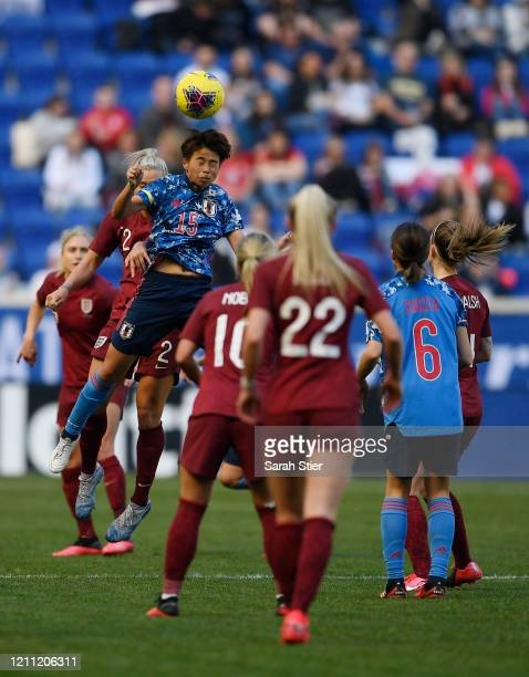 Mina Tanaka of Japan heads the ball during the second half against England in the SheBelieves Cup at Red Bull Arena on March 08, 2020 in Harrison,...