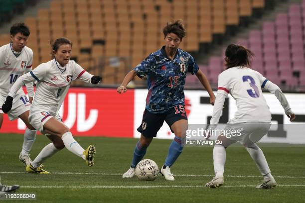 Mina Tanaka of Japan in action during the EAFF E-1 Football Championship match between Japan and Chinese Taipei at Busan Asiad Main Stadium on...