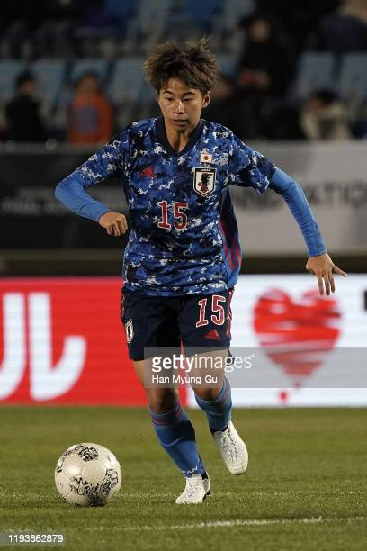 Mina Tanaka of Japan in action during the EAFF E-1 Football Championship match between China and Japan at Busan Gudeok Stadium on December 14, 2019...