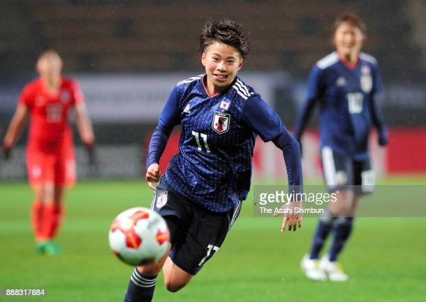 Mina Tanaka of Japan in action during the EAFF E-1 Women's Football Championship between Japan and South Korea at Fukuda Denshi Arena on December 8,...