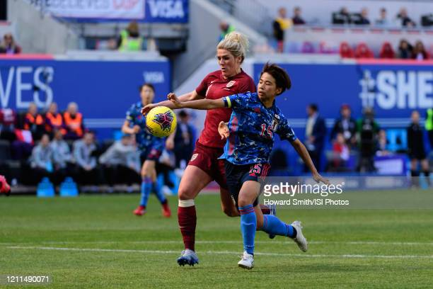 Mina Tanaka of Japan is defended by Millie Bright of England during a game between England and Japan at Red Bull Arena on March 08 2020 in Harrison...