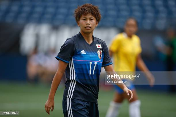 Mina Tanaka of Japan looks on during the match against Brazil during the 2017 Tournament of Nations at CenturyLink Field on July 27, 2017 in Seattle,...