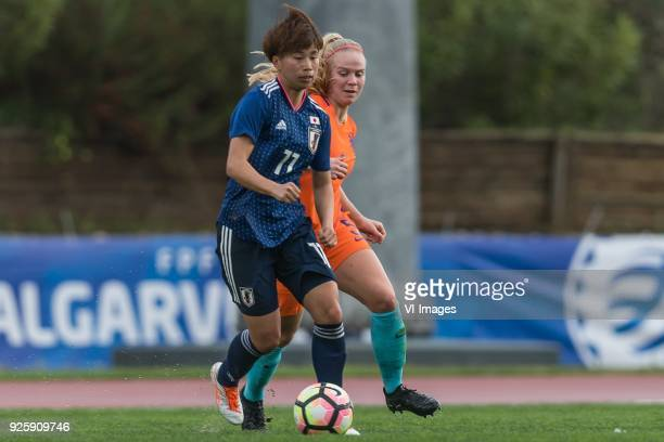 Mina Tanaka of Japan women, Kika van Es of the Netherlands women during the Algarve Cup 2018 match between Japan and the Netherlands at the Estadio...