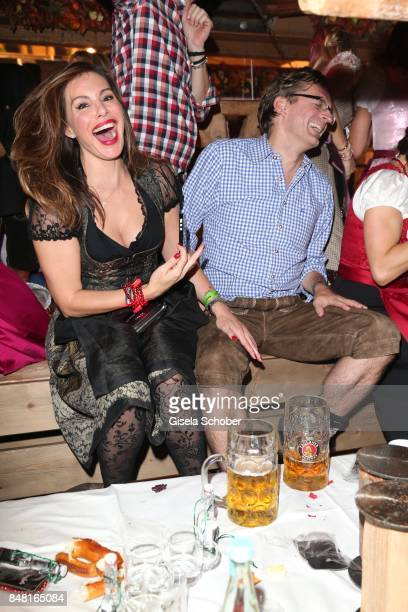 Mina Tander and Claus Strunz during the opening of the Oktoberfest 2017 at Kaeferschaenke at Theresienwiese on September 16 2017 in Munich Germany
