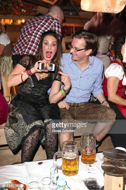Mina Tander and Claus Strunz during the opening of the Oktoberfest 2017 at Kaeferschaenke at Theresienwiese on September 16, 2017 in Munich, Germany.