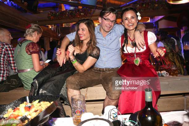 Mina Tander Claus Strunz and Nadja Pia Wagner during the opening of the Oktoberfest 2017 at Kaeferschaenke at Theresienwiese on September 16 2017 in...