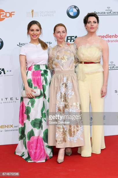 Mina Tander Katharina Schuettler and Antje Traue during the Lola German Film Award red carpet arrivals at Messe Berlin on April 28 2017 in Berlin...