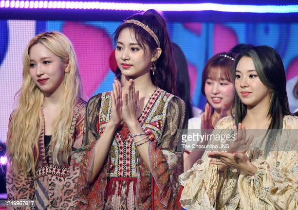 Mina, Tzuyu, Chaeyoung of TWICE during MBC Music Channel 'Show Champion' Live Broadcast at Ilsan MBC Dream Center on June 10, 2020 in Goyang, South...