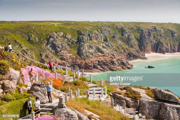 minack theatre at porthcurno in cornwall - minack theatre stock pictures, royalty-free photos & images