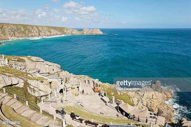 minack theatre, porthcurno, cornwall, england, uk - minack theatre stock pictures, royalty-free photos & images