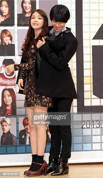MinAh of Girls Day and TaeMin of SHINee attend the SBS Music Awards 'Music Makes Miracles' press conference at SBS Hall on December 18 2013 in Seoul...
