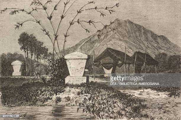 Minahasa tombs Celebes island today Sulawesi drawing by Hubert Clerget from The Malay Archipelago 18611862 by Alfred Russell Wallace from Il Giro del...