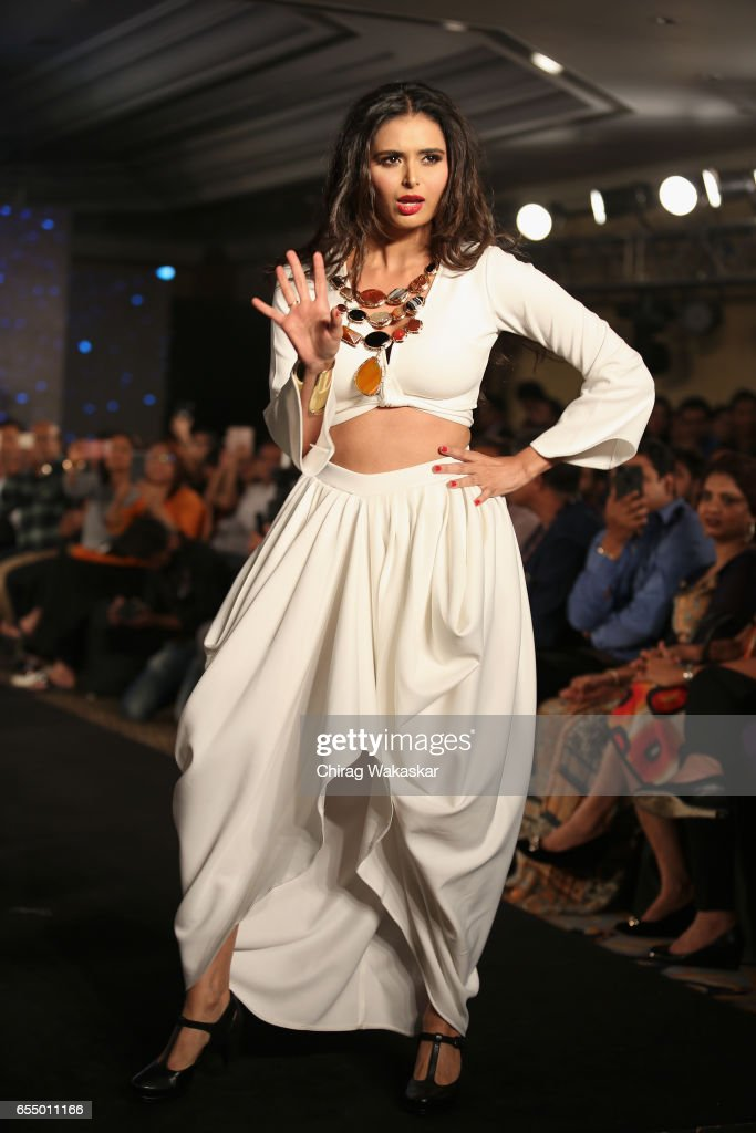 Minakshi Dixit walks the runway at the Mona Shroff show during India Intimate Fashion Week 2017 at Hotel Leela on March 18, 2017 in Mumbai, India.