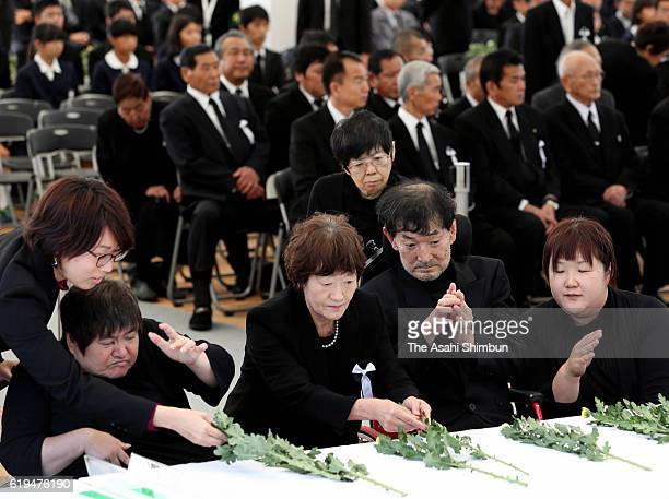 Minamata Disease patients and family members attend the ceremony to mark 60th anniversary of the disease's official recognition on October 29 2016 in...