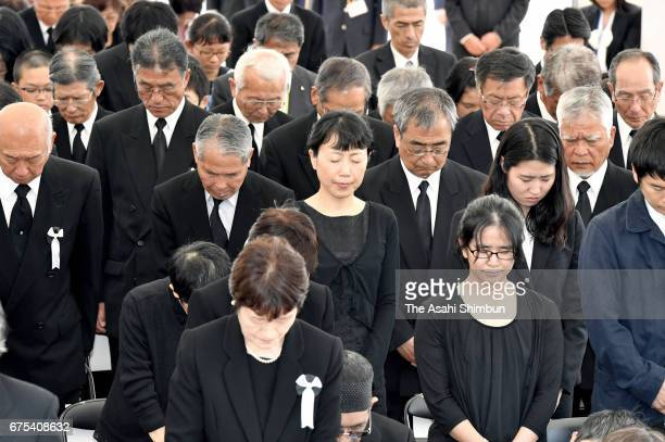 Minamata Disease patients and family members attend the ceremony to mark 61st anniversary of the disease's official recognition on May 1 2017 in...