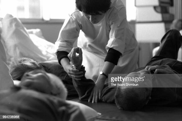 Minamata disease patients at an rehabilitation center 30 years after mercury poisoning recognised on April 13 1986 in Minamata Kumamoto Japan