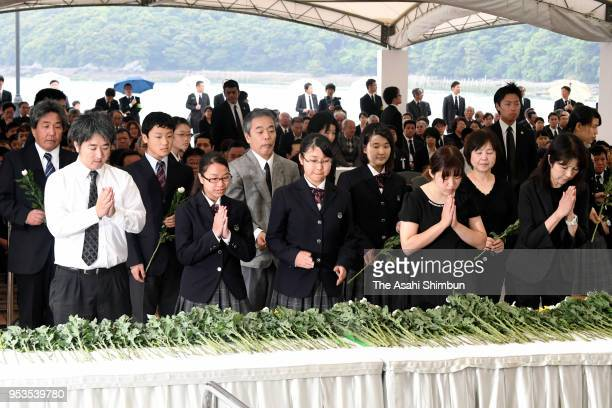 Minamata Disease victims and family members attend a memorial on the 62nd anniversary of the mercurypoisoning disease on May 1 2018 in Minamata...