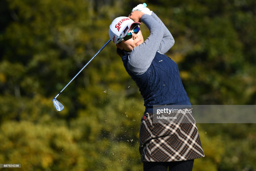 Minami Katsu of Japan hits her tee shot on the 7th hole during the first round of the LPGA Rookie Tournament at Great Island Club on December 7, 2017 in Chonan, Chiba, Japan.