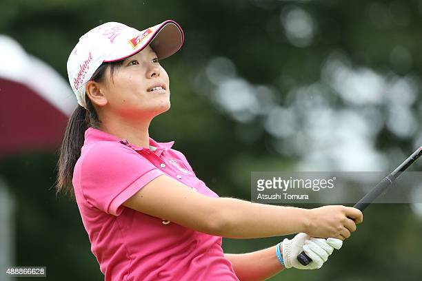 Minami Katsu of Japan hits her tee shot on the first hole during the first round of the Munsingwear Ladies Tokai Classic at the Shin Minami Aichi...