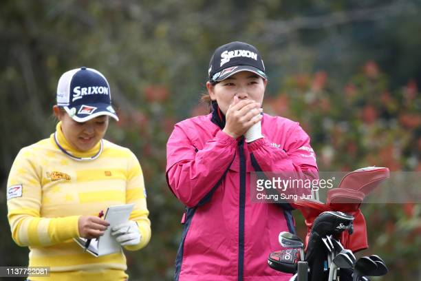 Minami Katsu of Japan on the 2nd hole during the second round of the TPoint x ENEOS Golf Tournament at Ibaraki Kokusai Golf Club on March 23 2019 in...