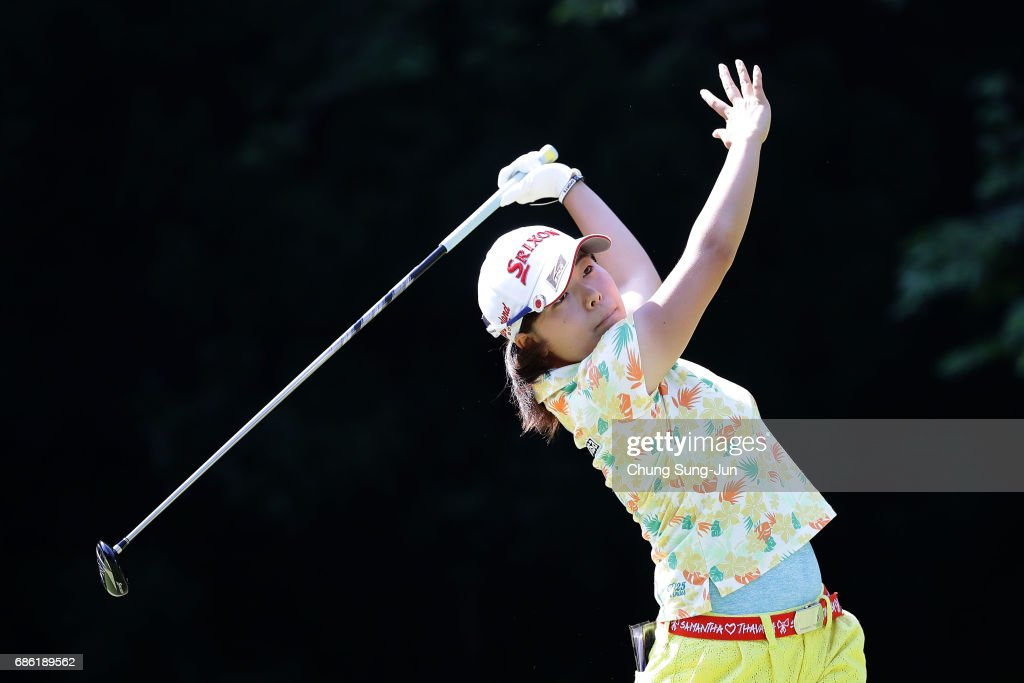 Minami Katsu of Japan plays a tee shot on the 5th hole during the final round of the Chukyo Television Bridgestone Ladies Open at the Chukyo Golf Club Ishino Course on May 21, 2017 in Toyota, Japan.